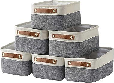 HNZIGE - Cestas pequeñas de almacenamiento para organizar (6 unidades), cestas de tela para estantes, armarios, lavandería, h