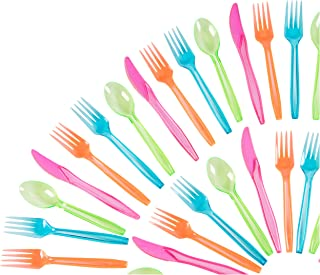 Plastic Silverware Set - 216-Piece Neon Cutlery in Green, Blue, and Pink, Disposable Neon Party Supplies, Includes 54 Spoons, 108 Forks, 54 Knives