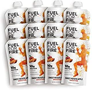 Fuel For Fire - Sweet Potato Apple (12 Pack) Fruit & Protein Smoothie Squeeze Pouch | Perfect for Workouts, Kids, Snacking - Gluten-Free, Soy-Free, Kosher (4.5 ounce pouches)