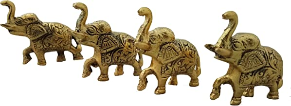 Trendy Crafts Weekend Sale- Trunk Up Elephant Statues Set of 4 - Showpiece Metal Statue - Lucky Figurine- Home Décor Gifts Item