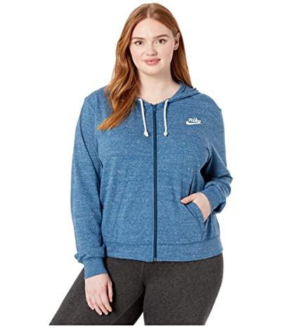 Nike Plus Size NSW Gym Vintage Hoodie Full Zip (Valerian Blue/Sail) Women