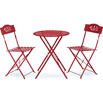 Alpine Corporation Indoor/Outdoor 3-Piece Bistro Set Folding Table and Chairs Patio Seating, Red