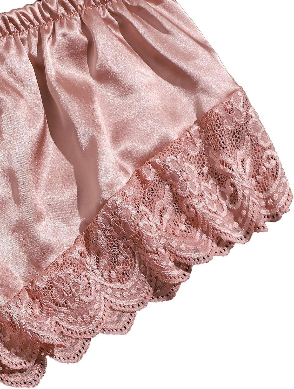 SheIn Women's Plus Floral Lace Scallop Trim Bralette with Satin Shorts Lingerie Set