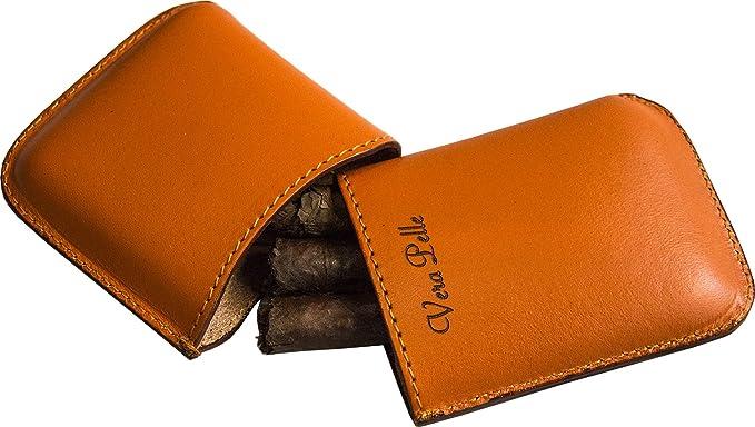 Gris Estuche de Cuero para cigarros Etabeta ArtigianoToscano Made in Italy 1-4