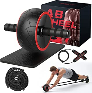 Ab Roller Wheel, Strength Training Equipment, Ab Wheel Roller For Core Workout with Knee Mat and Jump Rope Resistance Band...
