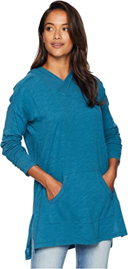Slub Jersey Drop Shoulder Hooded Tunic with Rib Trim