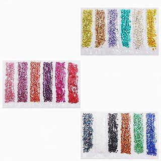 Jmassyang 18 Colors Crushed Glass 2-4mm Irregular Glitter Metallic Chips Gravel Gem Stones for Nail Arts Craft Resin DIY M...
