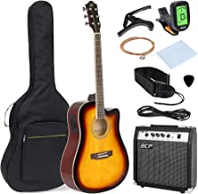 Best Choice Products 41in Full Size Acoustic Electric Cutaway Guitar Set w/ 10-Watt Amplifier, Capo, E-Tuner, Gig Bag, Strap, Picks (Sunburst)