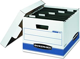 Bankers Box HANG'N'STOR Medium-Duty Storage Boxes, FastFold, Lift-Off Lid, Letter, 4 Pack (00784), Blue;White