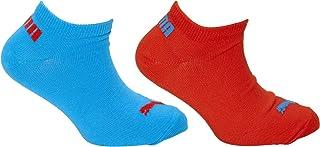 Puma, Calcetines Tobilleros Deportivos Lifestyle para Niños Niñas (2 Pares) (9-11.5 UK Child) (Rojo/Azul)