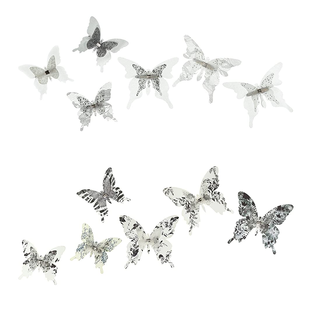 Roser Life Craft Butterflies?Decorative Artificial Butterfly Clips?Silk Fabric Butterfly Decorations?Floral Butterflies?Handmade Vintage Ornament?Party Garden Outdoor Decor Black White (Pack of 12)