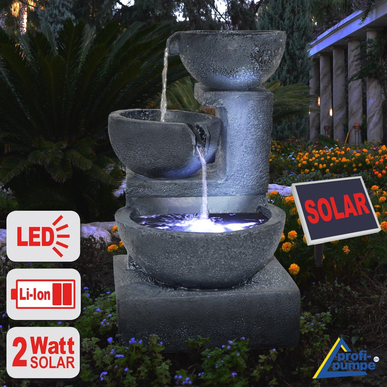 Solar Gartenbrunnen Brunnen Solarbrunnen Zierbrunnen Wasserfall ...