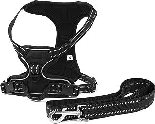 Allmonex Arnes para Perro Ajustable Collar Sin Tiron Ergonomico y Resistente Comodo Pet Vest with Handle para Paseo Correr Deporte Bono Correa 120 cm Mediano
