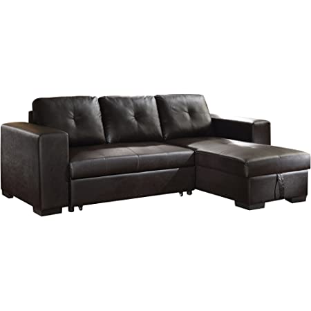 Acme Lyssa Sectional Sofa W Ottoman 51215 Black Bonded Leather Match Furniture Decor