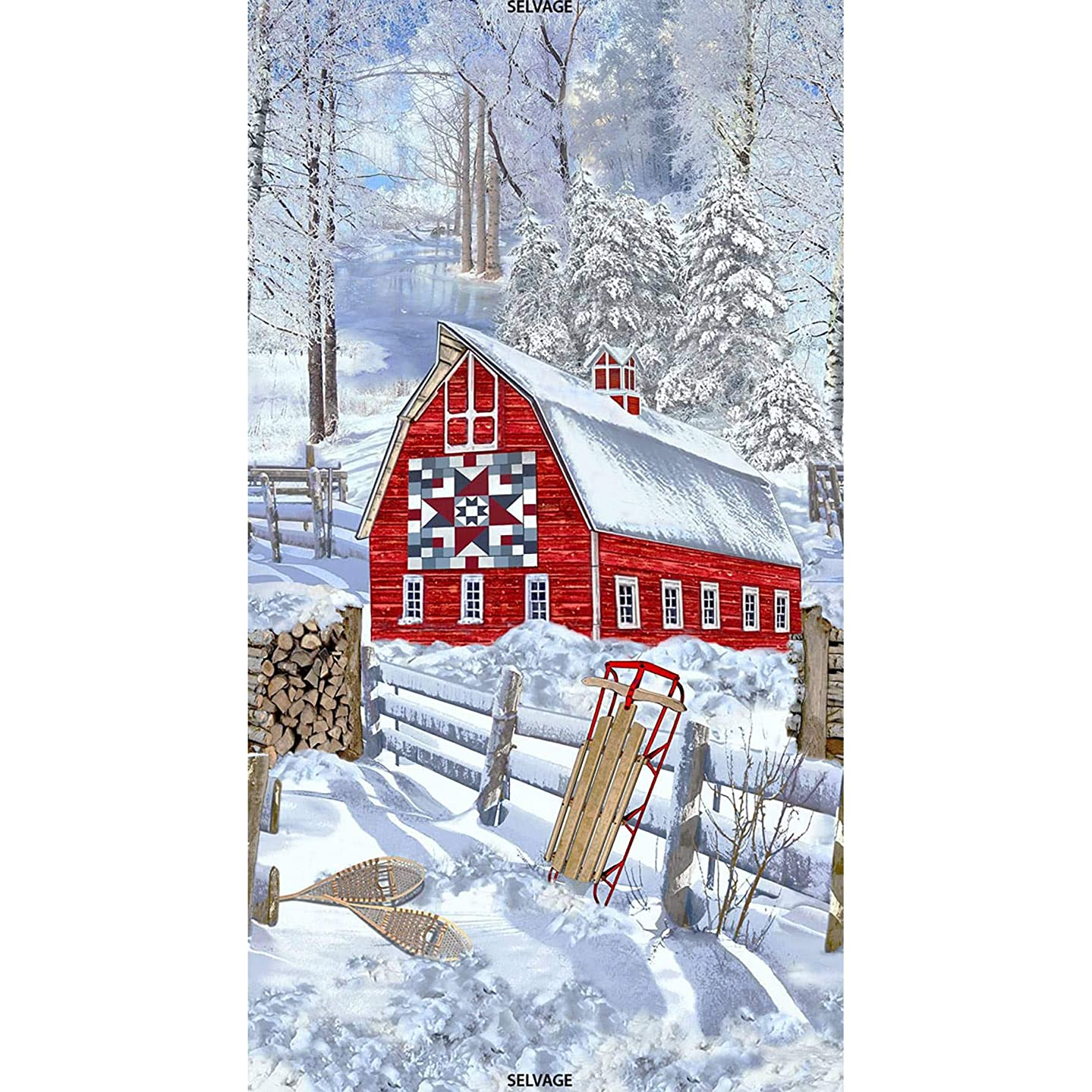 Timeless Treasures Fabrics Christmas Fabric Snow Winter Barn Scenic 24