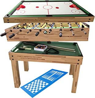 haxTON Game Table Combination Multi Game Table with 4 Games 4 in 1 Game Table Include Air Hockey Table, Pool Table Bowling Table and Foosball Table for Children and Adult Chess Exclude (4 in 1)
