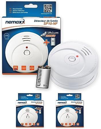 NX1 Pad de fijaci/ón Pila de Litio Larga duraci/ón de 9V 1x Nemaxx SP10-NF Detector de Humo DIN EN 14604