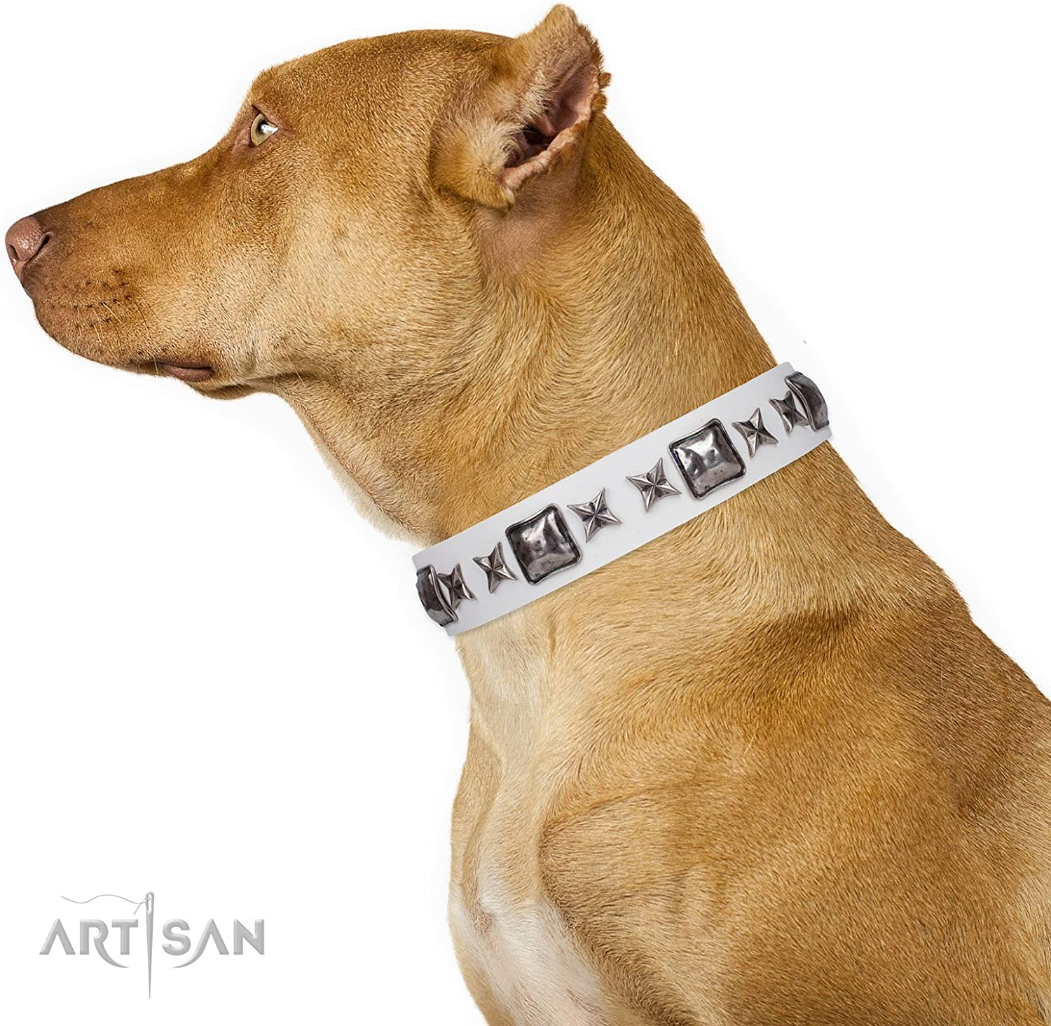 FDT Artisan 35 inch White Leather Dog Collar with Old Silver Like Decor Intergalactic Travelling 1 1 2 inch (40 mm) Wide