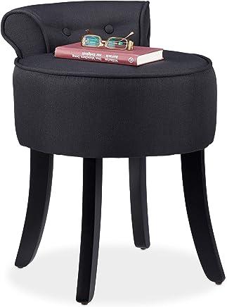 Relaxdays 低背办公椅,圆形织物软垫座椅凳,木质支架,高 61 X 44 X 47 厘米,黑色