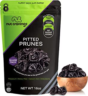 Sun Dried Prunes, Pitted Plums, No Sugar Added (16oz - 1 Pound) Packed Fresh in Resealable Bag - Sweet Dehy...