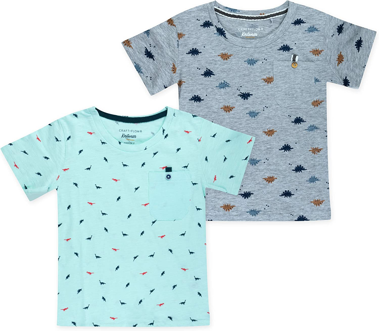 CRAFT + FLOW - 2-Pack Youth Boys Cotton T-Shirts for Toddlers (Size 2T-4T)