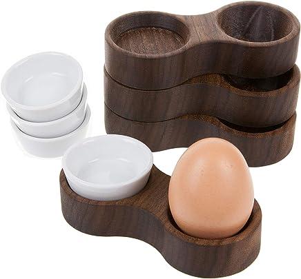 Preisvergleich für Rasch Design Eierbecher aus Holz mit Keramikschale | Buche, Esche, Eiche, Kirsche Oder Nussbaum Massivholz (Nussbaum, 4)