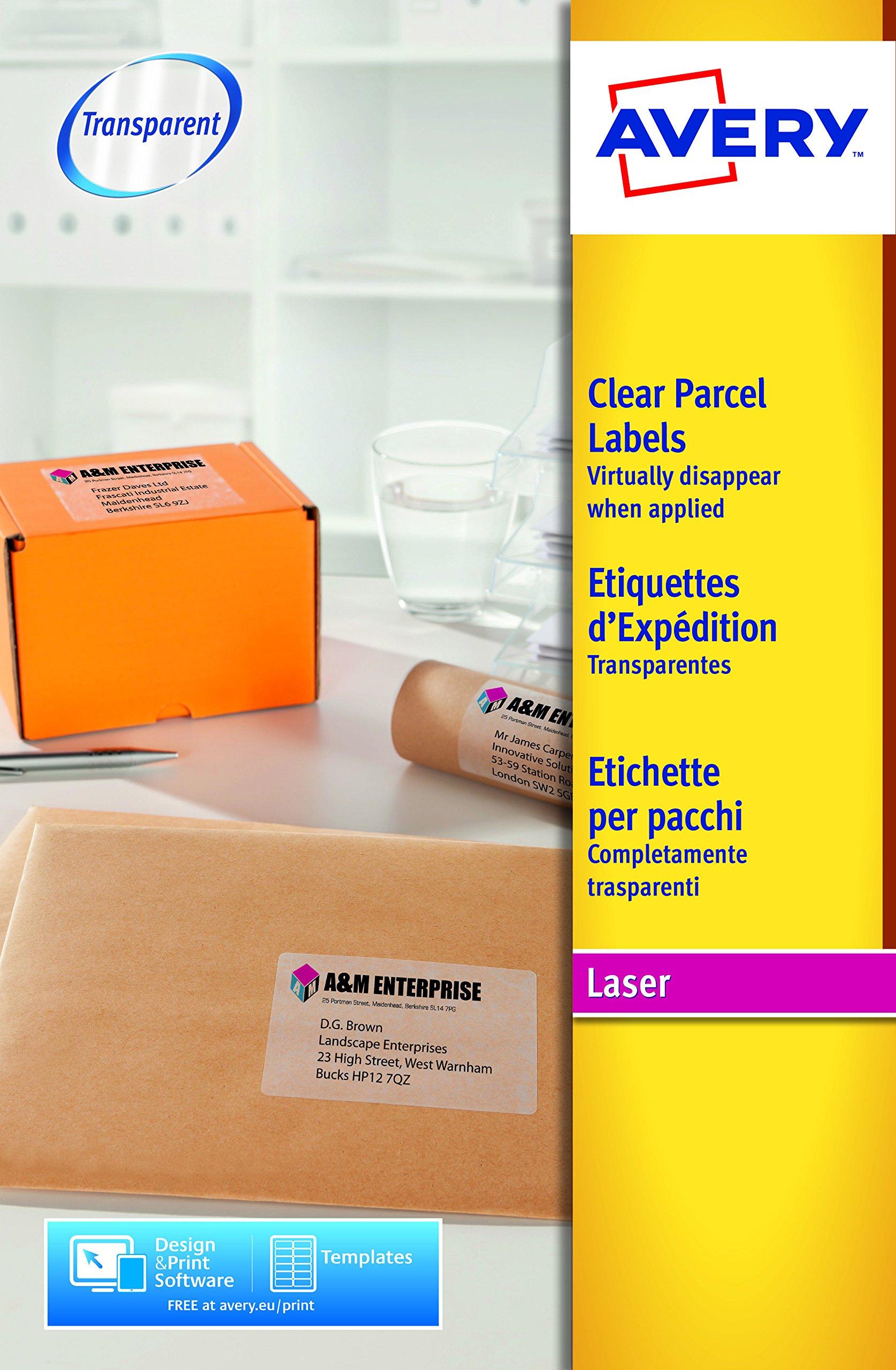 Avery España L7567-25.Caja de 25 etiquetas adhesivas transparentes, 210 x 297mm: Amazon.es: Oficina y papelería