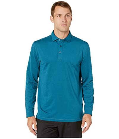Callaway Extra Soft Long Sleeve French Terry Heathered Solid Polo (Deep Dive Heather) Men