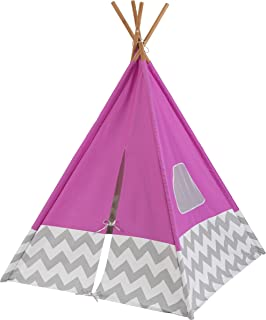KidKraft Deluxe Bamboo & Canvas Play Teepee, Children's Furniture – Pink & Chevron Print