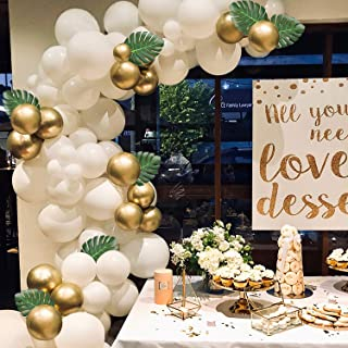 WATINC 121 Pcs Balloon Garland Arch Kit, 16Ft Long White and Gold Latex Balloons Pack for Party Backdrop Background Decorations, 10pcs Artificial Palm Leaves, Party Decorations for Baby Shower Wedding