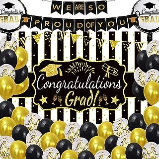 2021 Graduation Party Decoration Supplies for Grad, Black Gold Balloons Congrats College Junior Senior Grade School Decor