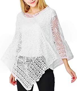 f27ccb455 PULI Women's Summer Beach Cover up Crochet Pullover Poncho Elegant Cape  Cardigan Cover up One Size