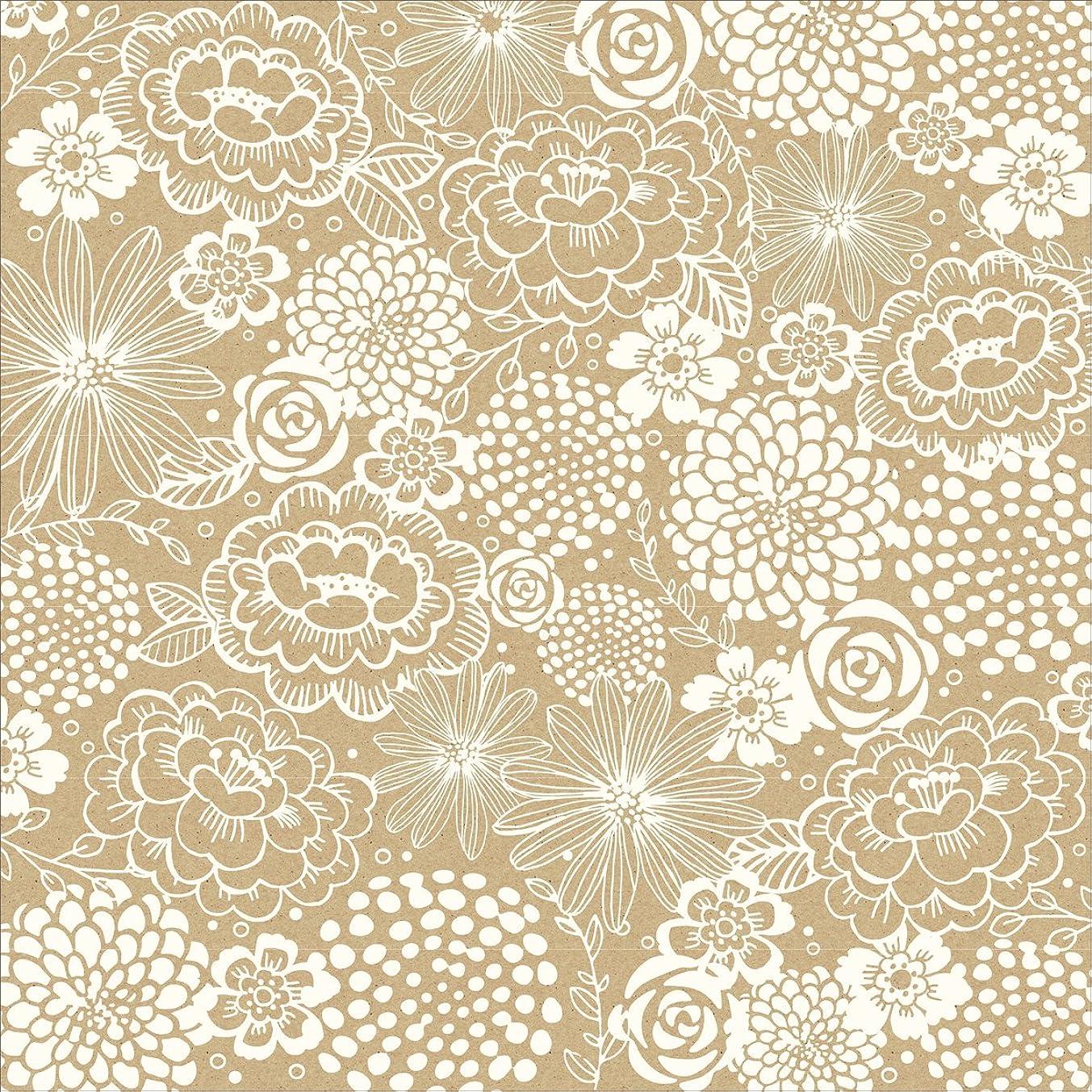 American Crafts Homemade Floral Kraft Cardstock, 12