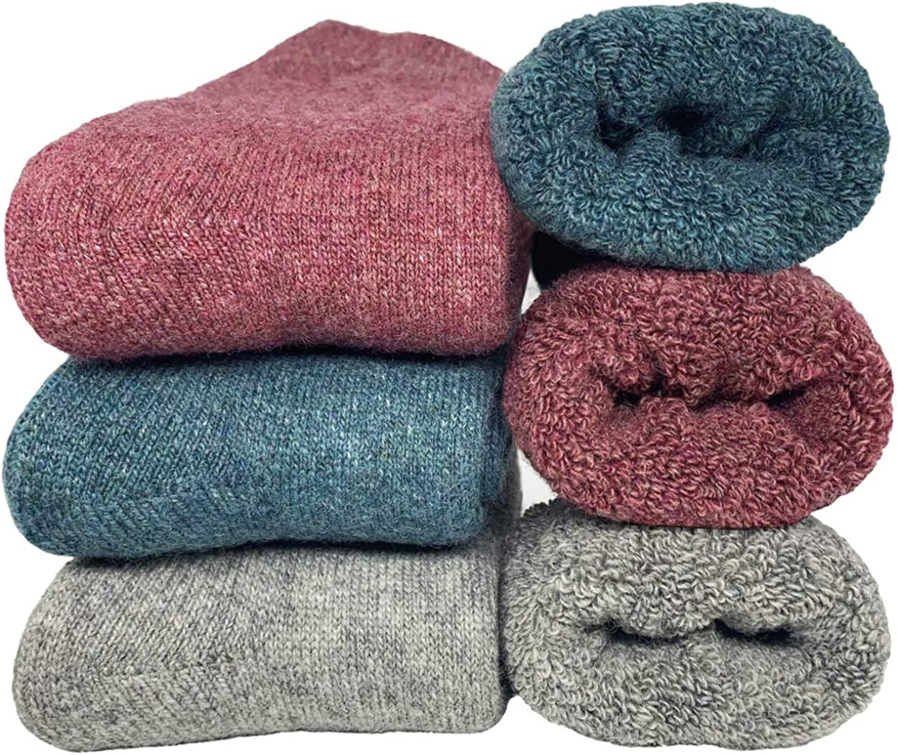 Mens Womens Winter Thick Wool Socks Super Soft Warm Cozy Knit Christmas Fuzzy Crew Socks 3 Pairs Pack