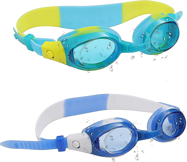 Gafas de Natación para Niños (2 Paquete) - Júnior Gafas de Natación - Piscina gafas para Niños, Niñas - Protección UV, Anti Niebla, Sin Fugas, Impermeables