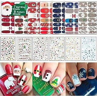 15 Sheets Christmas Nail Decals Stickers, 800 Pcs Self-adhesive Tips and 7 Sets Full Wrap DIY Nail Art Stencil with 1 Nail Buffer File. Include Christmas Tree/Santa/Snowflake/Snowman Etc.
