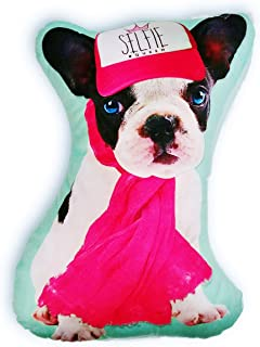 A&T Designs Selfie Queen - French Bulldog Dog with Blue Eyes Throw Pillow Stuffed Animal Plush - Novelty Stylish Cool Funny Unique Kawaii Trendy