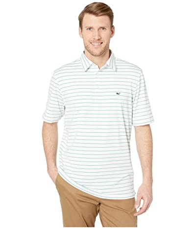 Vineyard Vines Southampton Stripe Sankaty Performance Polo (Greenwich Green) Men