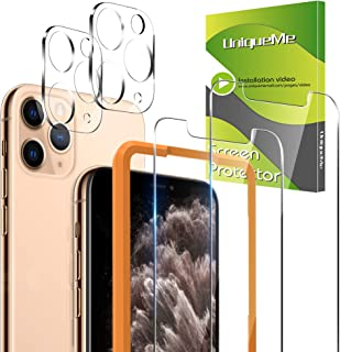 [2+2 Pack] UniqueMe 2 Pack Screen Protector For iPhone 11 Pro Tempered Glass +2 Pack Camera Lens Protector High Definition...