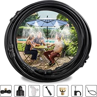 """EEEKit Outdoor Misting Misters Cooling System, 30FT (9M) Misting Line + 11 Brass Mist Nozzles + a PVC Connector(3/4"""")+ a Filter for Patio Fan Garden Greenhouse Misting, Trampoline for Waterpark"""