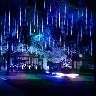 Verxii Home Falling Rain Lights 13.8ft 8 Tube 224 LEDs, Meteor Shower Lights Waterproof, Icicle Snow Fall String Cascading Lights, Christmas Lights for Holiday Party Wedding, Garden Decoration (Blue)