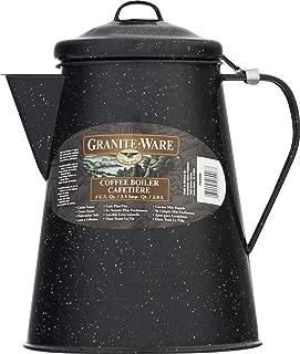 Columbian Home Granite Ware Coffee Boiler Ceramic On Steel Black 100 Oz