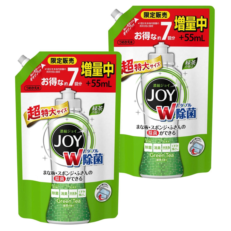 【まとめ買い】 除菌ジョイ コンパクト 食器洗剤 緑茶の香り 詰め替え 超特大増量 1120 mL×2個