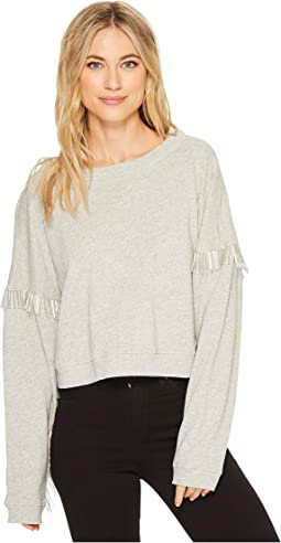French Terry Long Sleeve with Beaded Fringe in No Joke