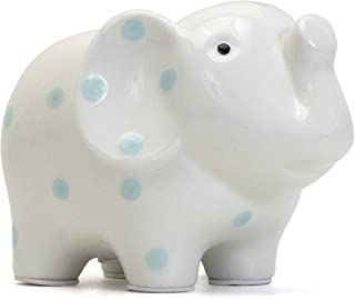 Child to Cherish Ceramic Elephant Piggy Bank for Boys, Blue Polka Dots