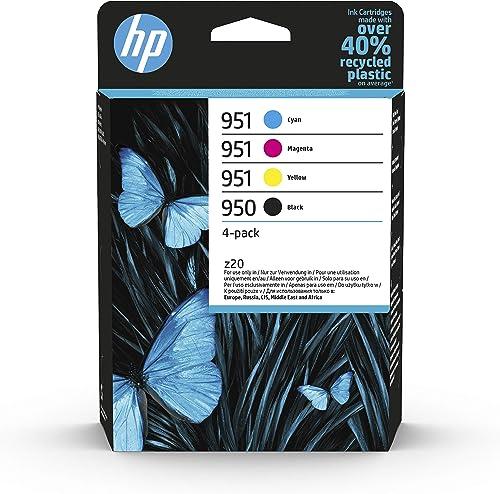 HP 950/951 Pack de 4 Cartouches d'Encre Noir, Cyan, Magenta et Jaune Authentiques (6ZC65AE)