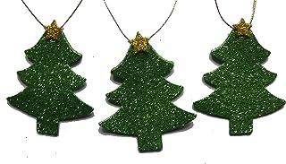 Decoración Navidad 6 arbol con estrella de 8 x 6,5 cm.aprox. goma eva brillante de color verde y amarillo handmade