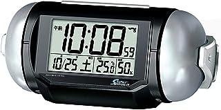 セイコークロック 置き時計 01:黒メタリック 本体サイズ:9.8×22.2.×12.5cm 電波 デジタル 大音量 PYXIS ピクシス BC401K