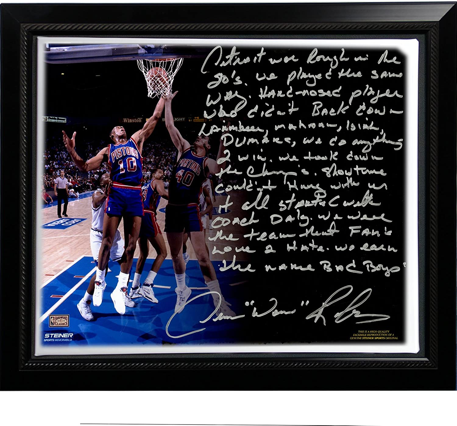 Steiner Sports NBA Detroit Pistons Dennis Rodman Facsimile 'The Bad Boys' Story Stretched Framed 22x26-Inch Canvas