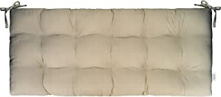 """RSH Décor Sunbrella Linen Antique Beige Indoor/Outdoor Tufted Cushion with Ties for Bench, Swing, Glider (38""""W x 18""""D)"""